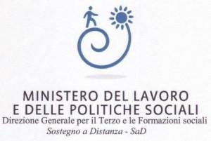 Logo Ministero del Lavoro e delle Politiche Sociali. Direzione Generale per il Terzo e le Formazioni Sociali, Sostegno a Distanza SaD